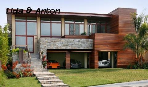 Правильны стиль дома с гаражом на 3 авто